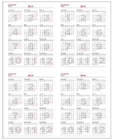 台历挂历用2013-2016年年历月历