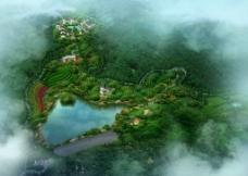 湿地庄园鸟瞰图图片
