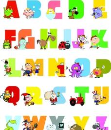 卡通英文字母图片