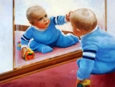 蓝色男童图片