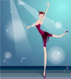 唯美舞蹈矢量插画图片