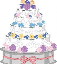 爱情蛋糕插画图片