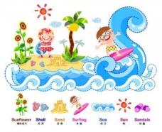 儿童冲浪图片