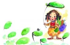 水彩画 童年图片