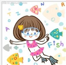 卡通鱼矢量素材