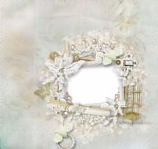 洁白的金色鸟笼婚礼相框图片