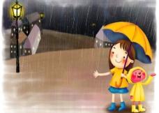 卡通下雨天小女孩图片