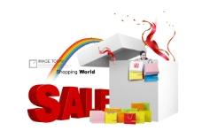 白色盒子旁的红色销售英文