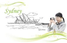 悉尼歌剧院和照相的美女
