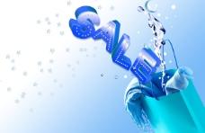 蓝色袋子内的水花和围巾