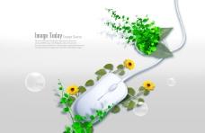 绿色植物和白色鼠标