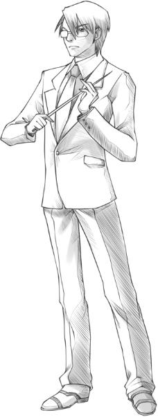 西装眼镜男教师