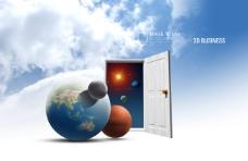 打开的房门和地球星球