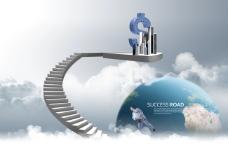 白云上的地球和旋转楼梯