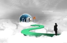 白云上的弯曲道路和地球