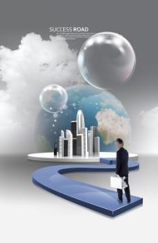 城市楼群地球和泡泡