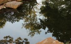 岳麓书院池塘倒影图片