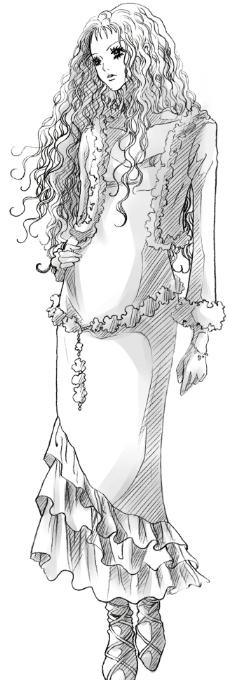 线描图片素材连衣裙女孩卷发