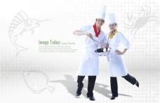 线描海鲜和男女厨师
