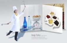 美食宣传册和手拿厨具的女厨师