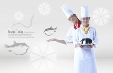 端着美食的厨师和河豚