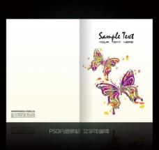 蝴蝶花纹画册封面设计图片
