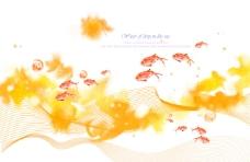 黄色花纹背景前的小鱼
