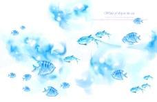 蓝色背景前的小鱼