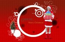 红色背景前的圆圈和圣诞美女