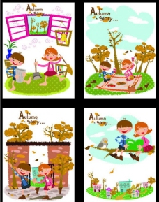 卡通小孩笔记本图片