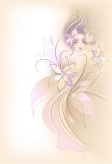 淡雅紫色手绘人物图