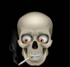 骷髅 抽烟图片