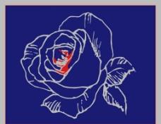 玫瑰花线描矢量图图片