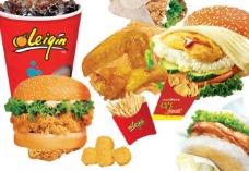 汉堡 鸡腿 薯条图片