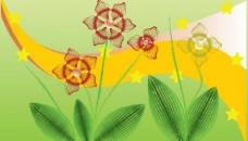线条风车花纹 底纹 绿叶 星星图片