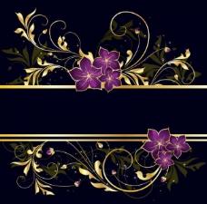 金色花纹 紫色花朵图片