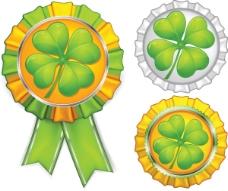 适量绿色幸运草金属徽章