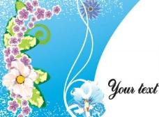 蓝色背景 梦幻花纹 花朵 动感线条曲线图片