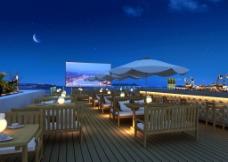 海边休闲环境夜景效果图片