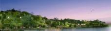 湖边美丽休闲环境效果图片