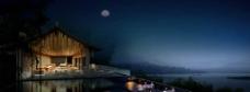 海边度假休闲环境夜景图片