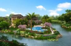 花园别墅环境效果图图片