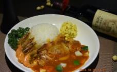 泰式鸡扒辣虾蛋饭图片
