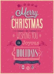 粉色圣誕海報設計矢量圖素材