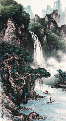 空谷飞瀑图片