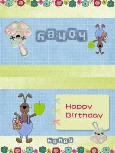 兔子生日贺卡图片