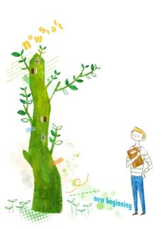 绿色大树和拿着书本的男孩