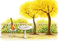 黄色大树旁的桌椅