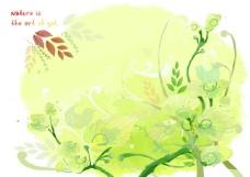 绿色藤蔓植物插画