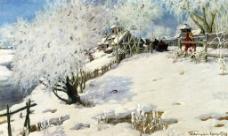 雪景油画设计素材图片